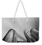 Modern Skyscraper Black And White  Weekender Tote Bag by Stefano Senise