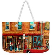 Moishes Steakhouse On The Main By Montreal Streetscene Painter Carole  Spandau  Weekender Tote Bag