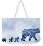 Mom And Baby Bears-blue Weekender Tote Bag
