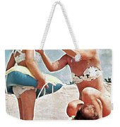 Mom With Girls At Beach Weekender Tote Bag