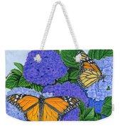 Monarch Butterflies And Hydrangeas Weekender Tote Bag