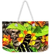 Monarch Butterfly And Zebra Butterfly Weekender Tote Bag