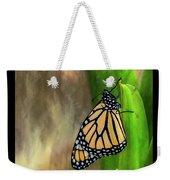 Monarch Butterfly Poised On Green Stem Weekender Tote Bag