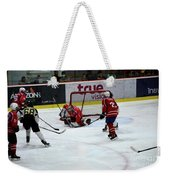Mongolia Team Players Defend Goal Vs Malaysia In Ice Hockey Match In Rink Bangkok Thailand Weekender Tote Bag