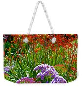 Yellow-orange Kangaroo Paws And Sea Lavender By Napier At Pilgrim Place In Claremont-california Weekender Tote Bag