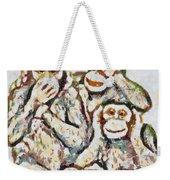 Monkey See Monkey Do Fragmented Weekender Tote Bag