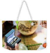 Monks Blessing Buddhist Wedding Ring Ceremony In Cambodia Weekender Tote Bag