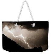 Mono Tone Lightning Striking The Ridge Weekender Tote Bag