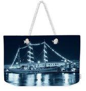 Monochrome Blue Boston Tall Ships At Night Boston Ma Weekender Tote Bag