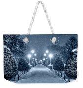Monochrome Blue Nights Boston Public Garden Snow Storm Ma Massachusetts Bridge Lights Weekender Tote Bag