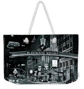 Monochrome Grayscale Palyhouse Square Weekender Tote Bag