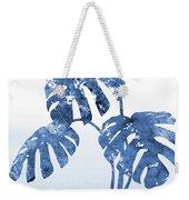 Monstera Leaf-blue Weekender Tote Bag