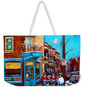 Montreal City Scene Hockey At Wilenskys Weekender Tote Bag