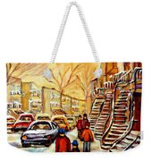 Montreal City Scene In Winter Weekender Tote Bag