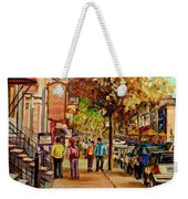 Montreal Downtown  Crescent Street Couples Walking Near Cafes And Rstaurants City Scenes Art    Weekender Tote Bag