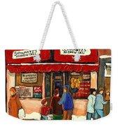 Montreal Hebrew Delicatessen Schwartzs By Montreal Streetscene Artist Carole Spandau Weekender Tote Bag