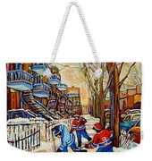 Montreal Hockey Game With 3 Boys Weekender Tote Bag