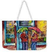 Montreal Rainy Day Paintings April Showers Umbrella Conversation At Wilensky's Deli C Spandau Quebec Weekender Tote Bag