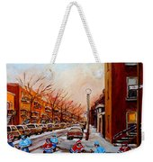 Montreal Street Hockey Game Weekender Tote Bag