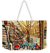 Montreal Street Hockey Paintings Weekender Tote Bag