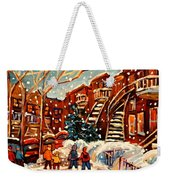Montreal Street In Winter Weekender Tote Bag