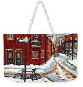 Montreal Street In Winter La Ville En Hiver Buy Montreal Paintings Petits Formats Peintures A Vendre Weekender Tote Bag