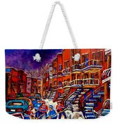 Montreal Street Scene Paintings Hockey On De Bullion Street   Weekender Tote Bag