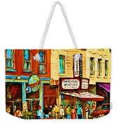 Montreal Streetscene Artist Carole Spandau Paints Schwartzs Main Street Hustle Bustle Weekender Tote Bag