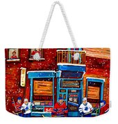 Montreal Wilensky Deli By Carole Spandau Montreal Streetscene And Hockey Artist Weekender Tote Bag