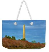 Monument Blossoms, Japanese Cherry Blossom Trees With The Washington Monument In The Background Weekender Tote Bag