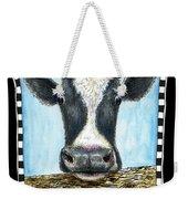 Moo Cow In Black Weekender Tote Bag