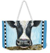 Moo Cow In Blue Weekender Tote Bag