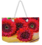 Moody Red Gerbera Dasies Weekender Tote Bag