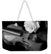 Moody Violin And Rose In Black And White Weekender Tote Bag