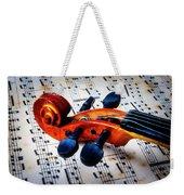 Moody Violin Scroll On Sheet Music Weekender Tote Bag