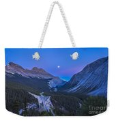 Moon Over Icefields Parkway In Alberta Weekender Tote Bag