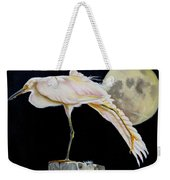Moon Over Mississippi A Snowy Egrets Perspective Weekender Tote Bag