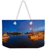 Moon Over Sitka Marina Weekender Tote Bag by Mike  Dawson