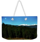 Moon Setting Into The Rocky Mountains Weekender Tote Bag