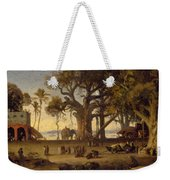Moonlit Scene Of Indian Figures And Elephants Among Banyan Trees Weekender Tote Bag