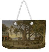 Moonlit Scene Of Indian Figures And Elephants Among Banyan Trees. Upper India Weekender Tote Bag