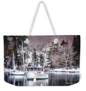 Moored Boats In Maine Winter  Weekender Tote Bag
