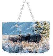 Moose In Cold Winter Ice Weekender Tote Bag