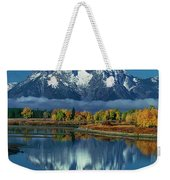 Morning Cloud Layer Oxbow Bend In Fall Grand Tetons National Park Weekender Tote Bag by Dave Welling