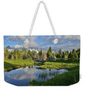 Morning Clouds Over Tetons Weekender Tote Bag