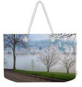 Morning Fog Over City Of Portland Skyline Weekender Tote Bag