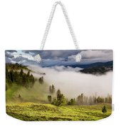 Morning Fog Over Yellowstone Weekender Tote Bag