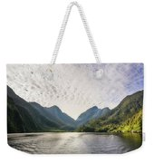 Morning Light Hitting The Docks At Doubtful Sound In New Zealand Weekender Tote Bag