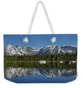 Morning Reflection Boats On Colter Bay Weekender Tote Bag