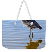 Morning Reflections Of A Great Blue Heron Weekender Tote Bag